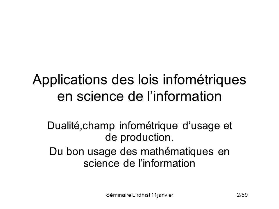 Applications des lois infométriques en science de l'information