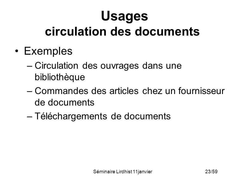 Usages circulation des documents