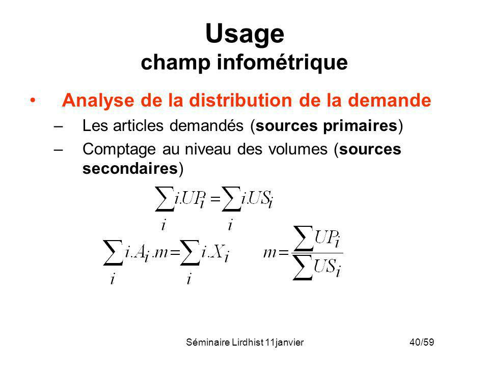 Usage champ infométrique
