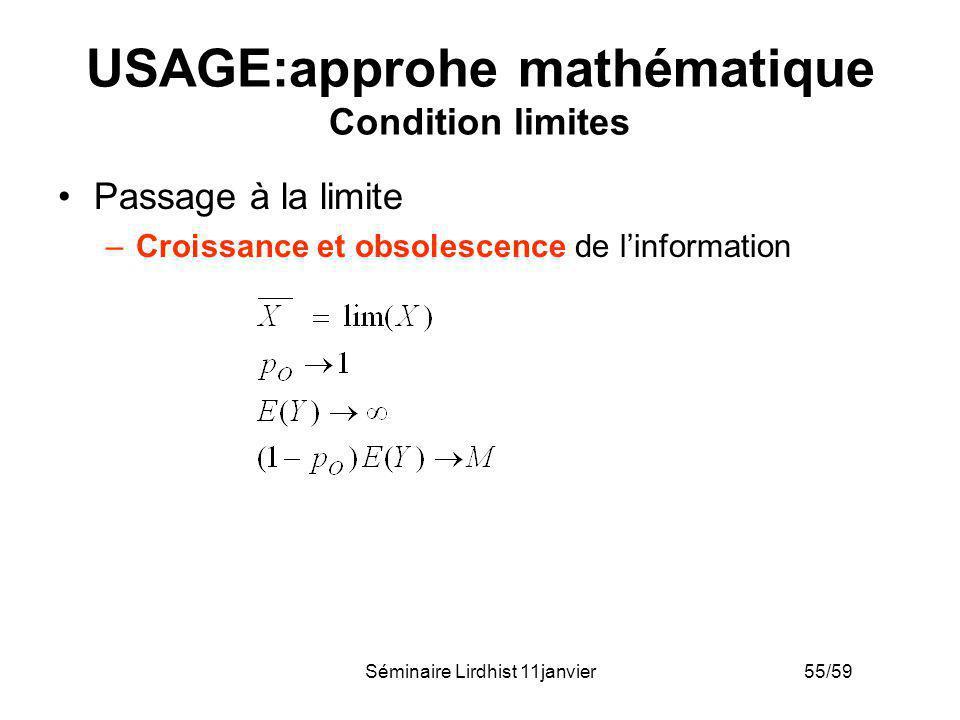 USAGE:approhe mathématique Condition limites