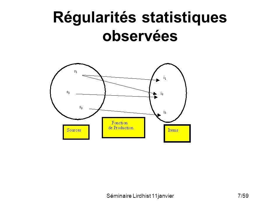 Régularités statistiques observées