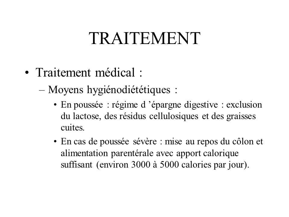 TRAITEMENT Traitement médical : Moyens hygiénodiététiques :