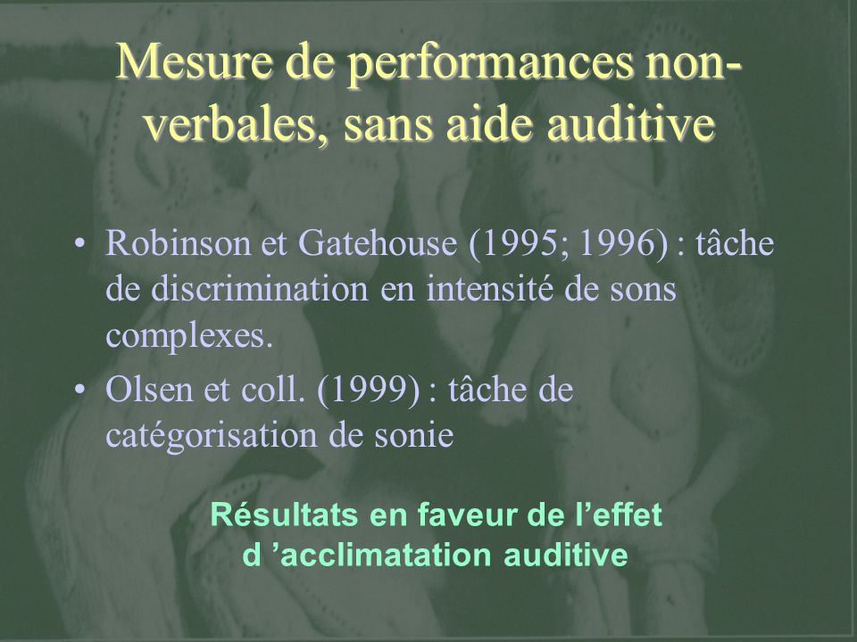 Mesure de performances non-verbales, sans aide auditive