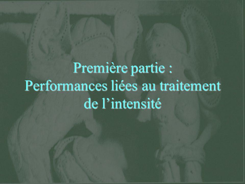 Première partie : Performances liées au traitement de l'intensité