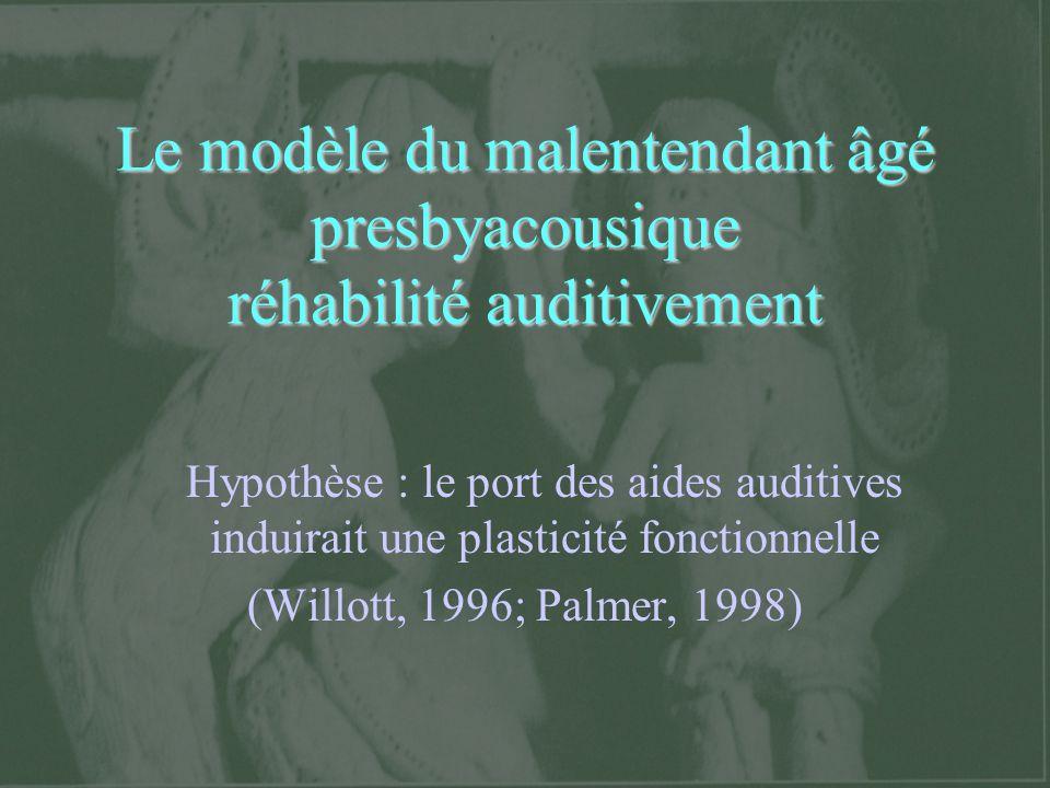 Le modèle du malentendant âgé presbyacousique réhabilité auditivement