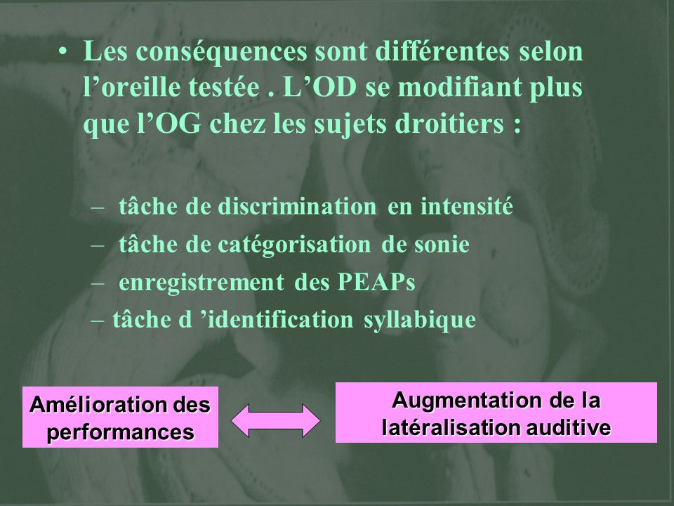 Augmentation de la latéralisation auditive