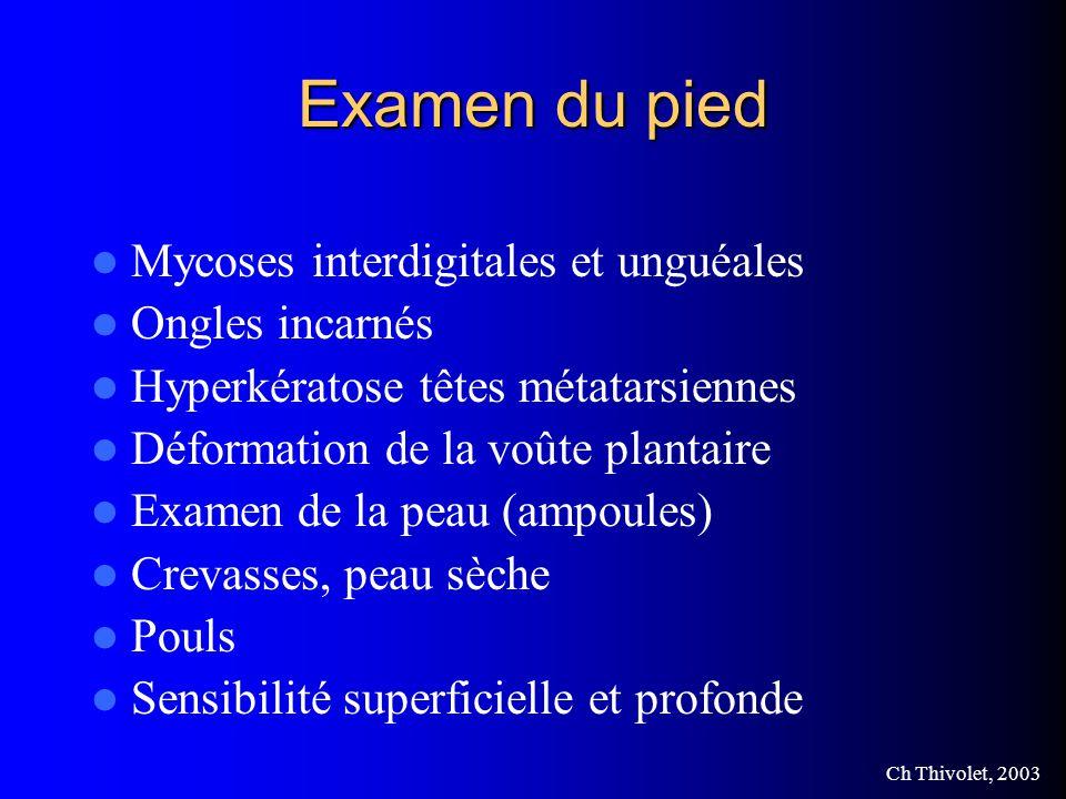 Examen du pied Mycoses interdigitales et unguéales Ongles incarnés