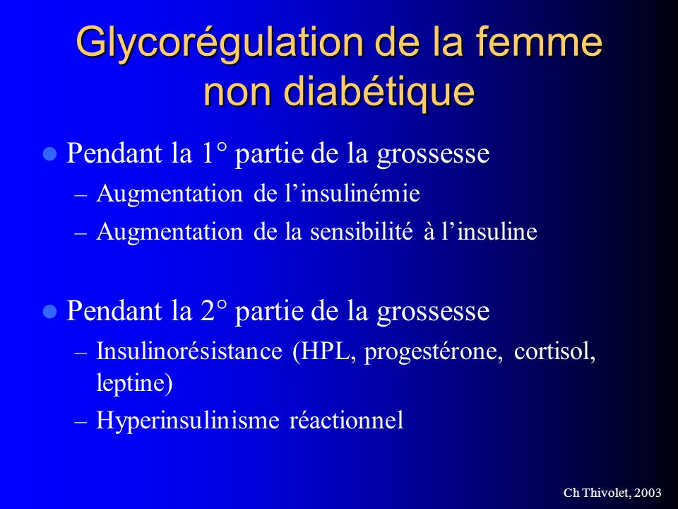 Glycorégulation de la femme non diabétique
