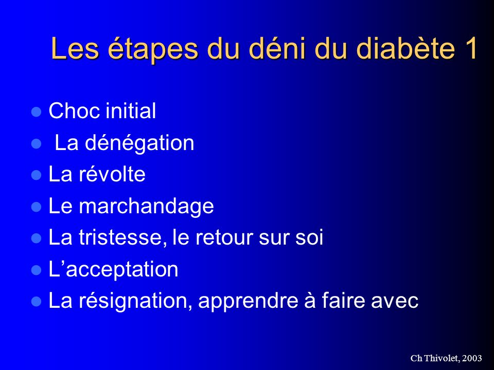 Les étapes du déni du diabète 1