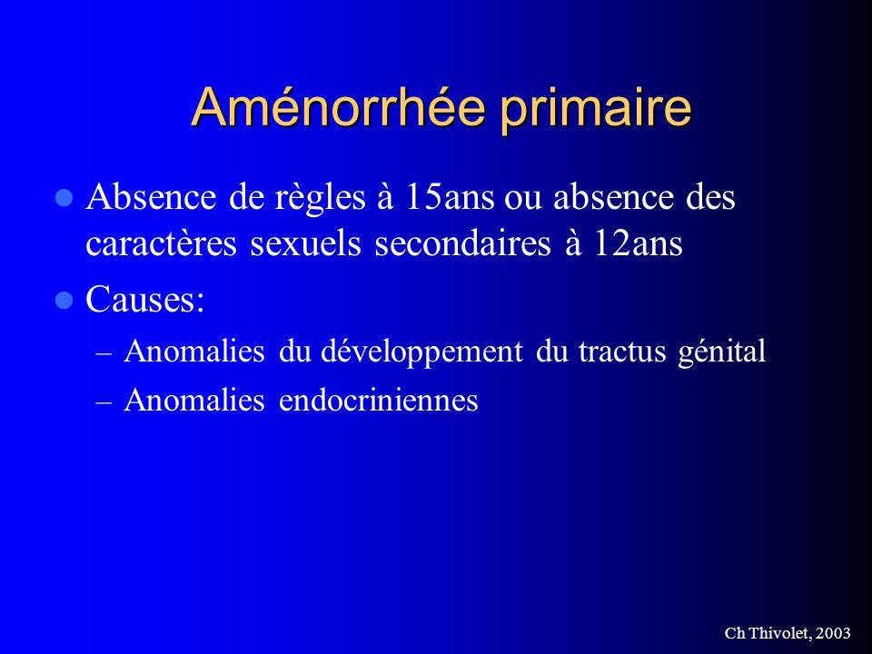 Aménorrhée primaire Absence de règles à 15ans ou absence des caractères sexuels secondaires à 12ans.