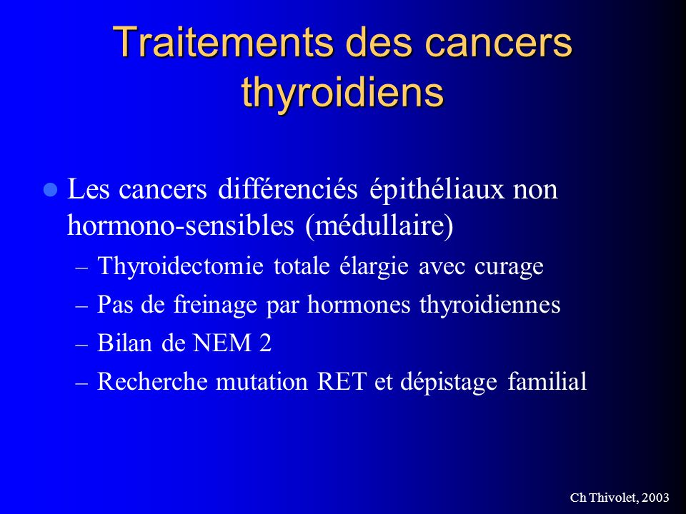 Traitements des cancers thyroidiens