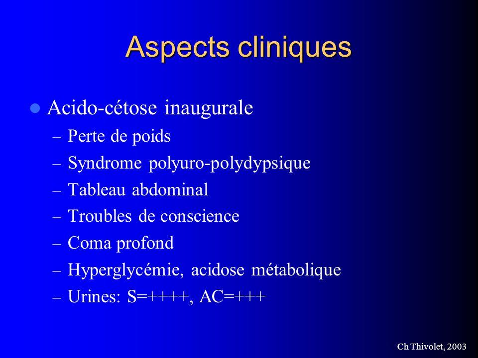 Aspects cliniques Acido-cétose inaugurale Perte de poids