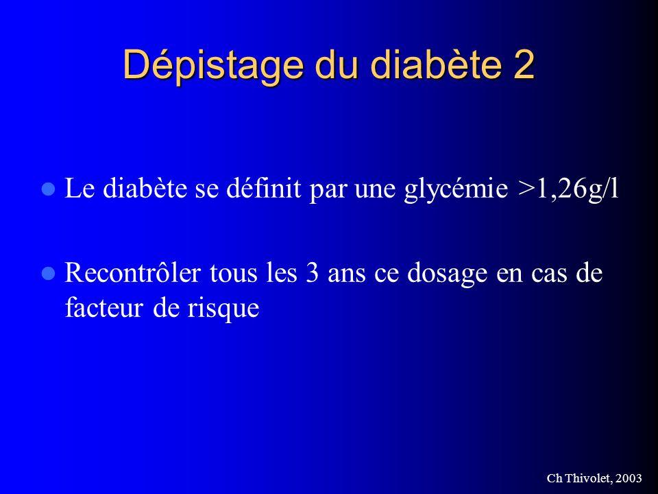 Dépistage du diabète 2 Le diabète se définit par une glycémie >1,26g/l.