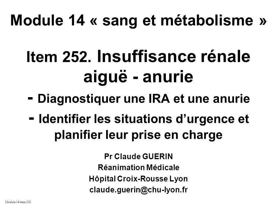 Module 14 « sang et métabolisme » Hôpital Croix-Rousse Lyon