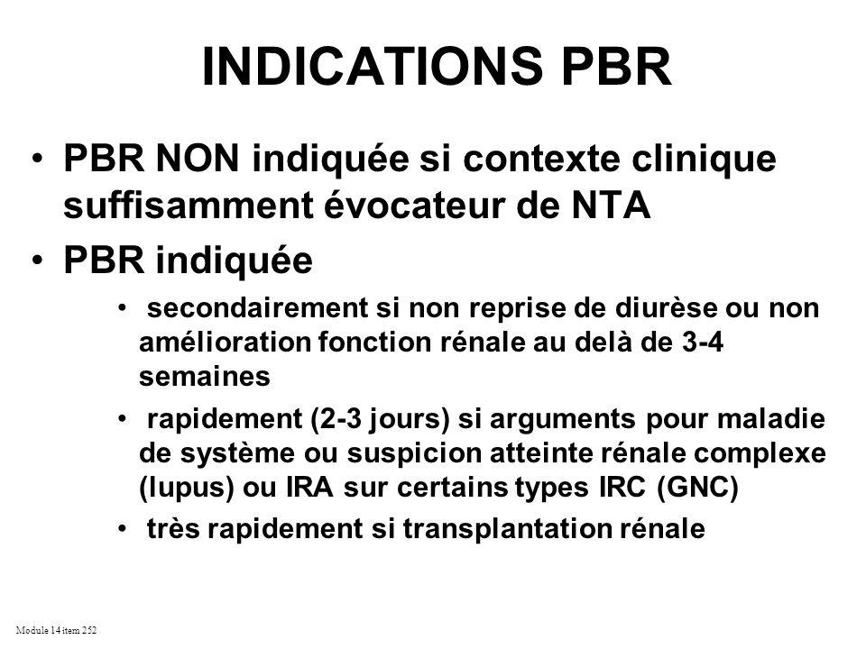 INDICATIONS PBR PBR NON indiquée si contexte clinique suffisamment évocateur de NTA. PBR indiquée.