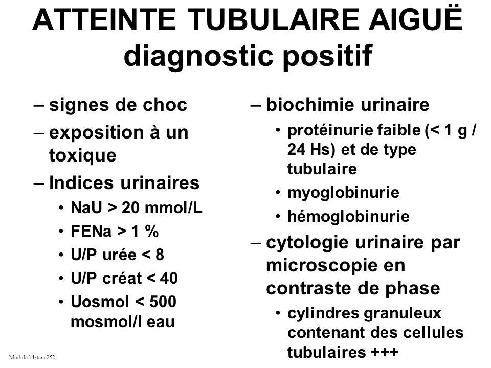 ATTEINTE TUBULAIRE AIGUË diagnostic positif
