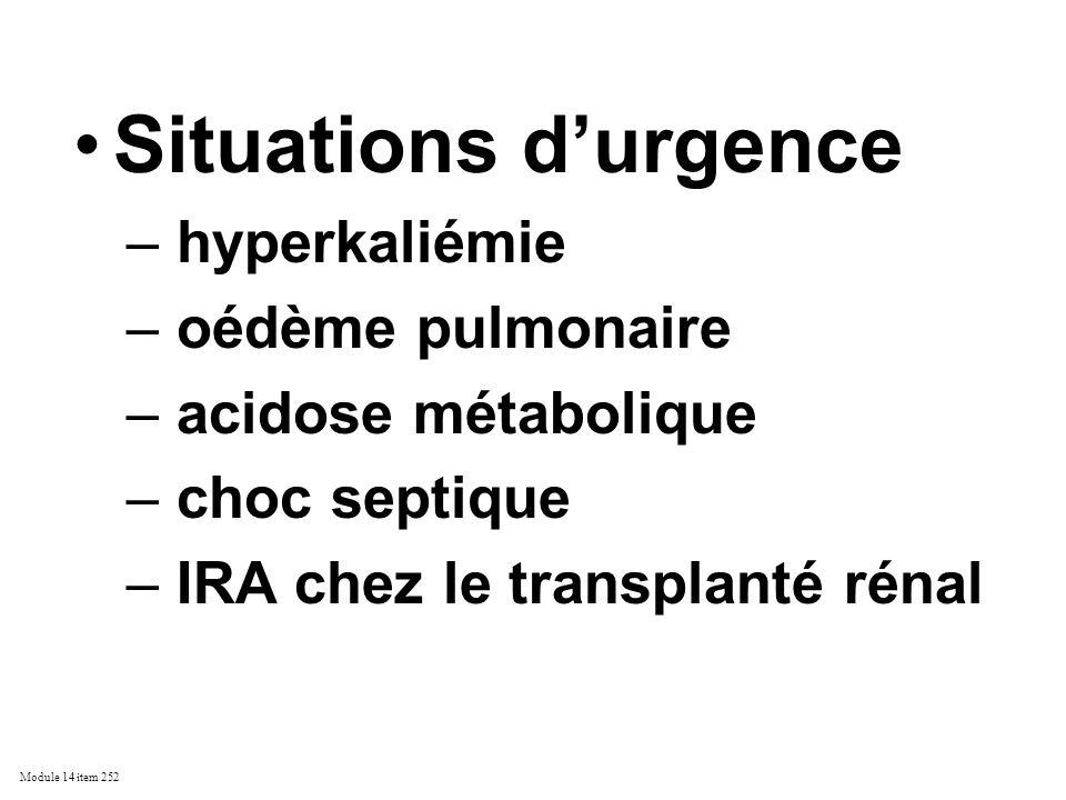 Situations d'urgence hyperkaliémie oédème pulmonaire