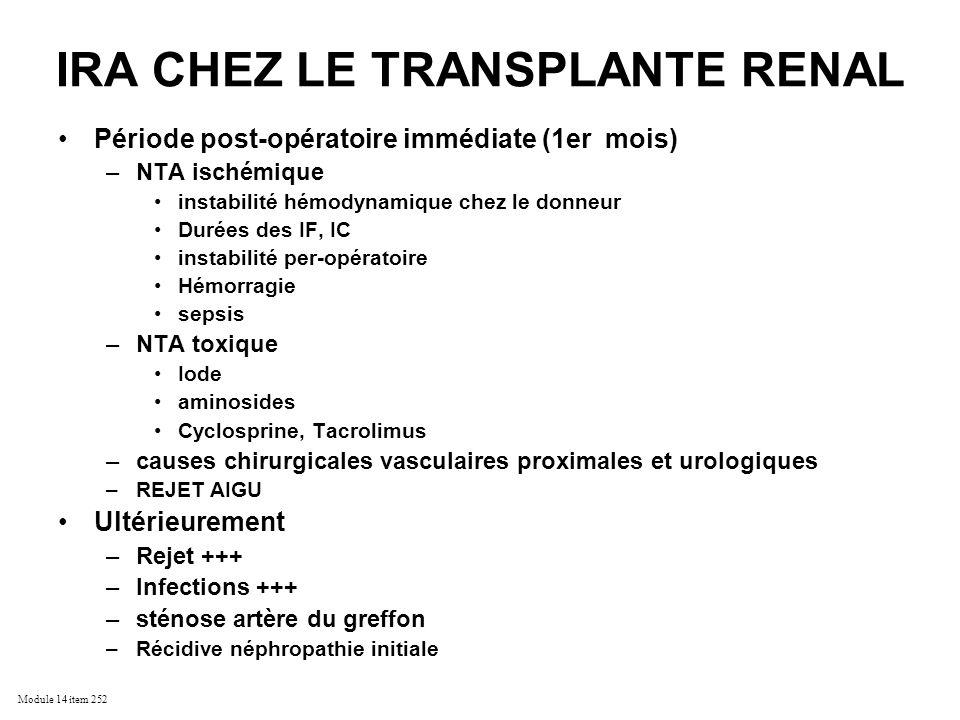 IRA CHEZ LE TRANSPLANTE RENAL