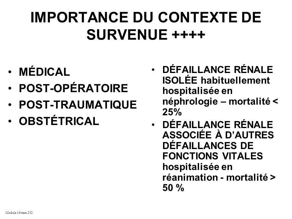 IMPORTANCE DU CONTEXTE DE SURVENUE ++++