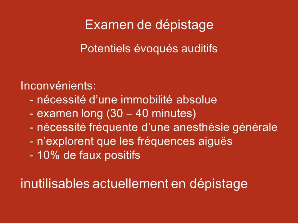 Examen de dépistage Potentiels évoqués auditifs