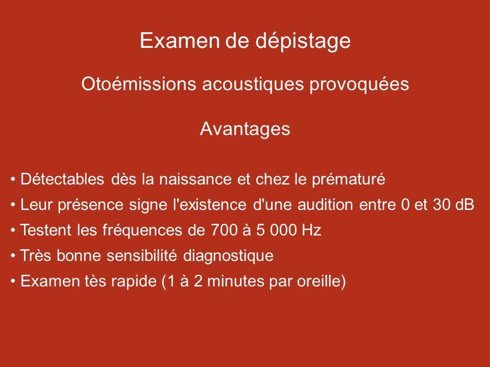Examen de dépistage Otoémissions acoustiques provoquées Avantages