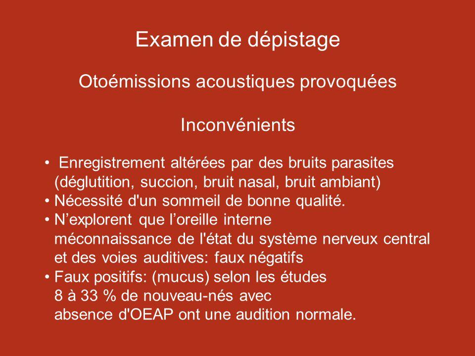 Examen de dépistage Otoémissions acoustiques provoquées Inconvénients