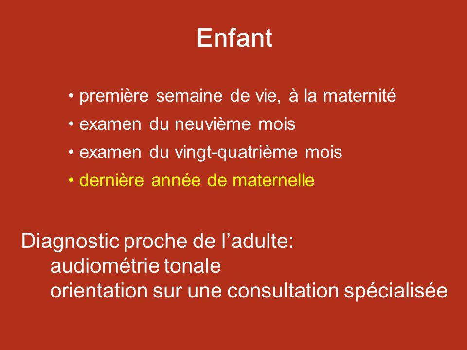 Enfant première semaine de vie, à la maternité. examen du neuvième mois. examen du vingt-quatrième mois.