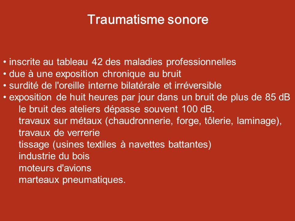 Traumatisme sonore inscrite au tableau 42 des maladies professionnelles. due à une exposition chronique au bruit.