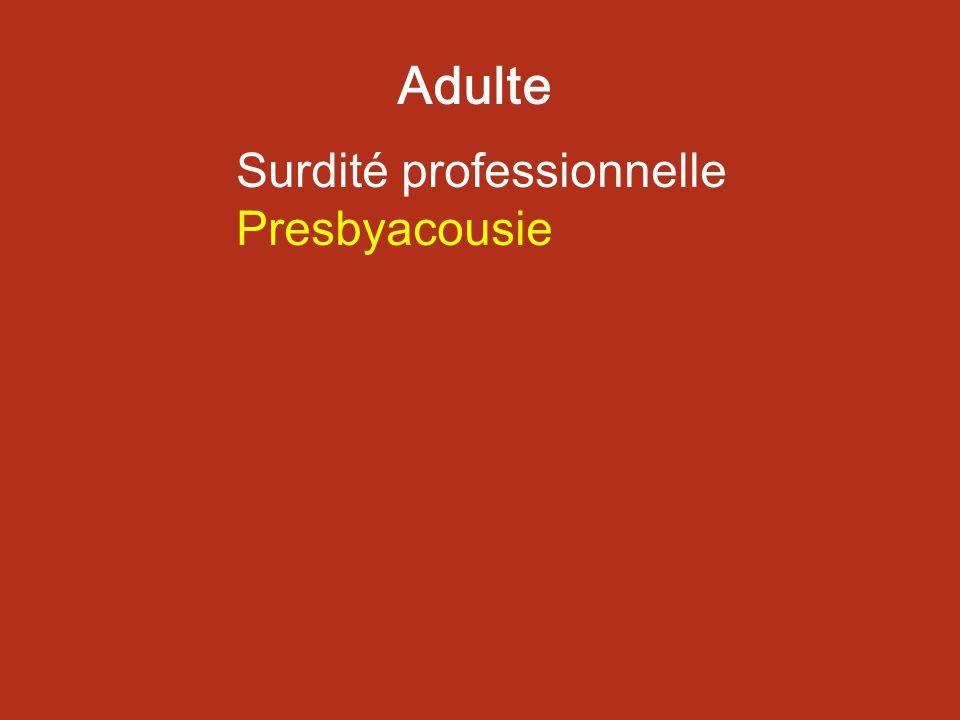 Adulte Surdité professionnelle Presbyacousie