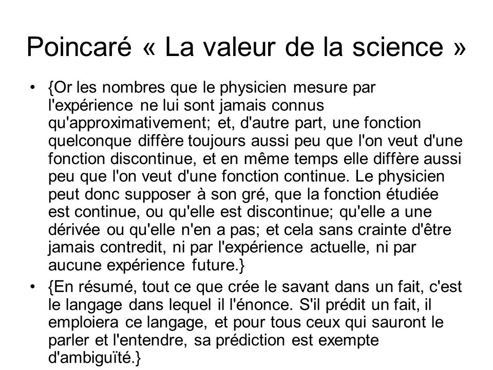 Poincaré « La valeur de la science »