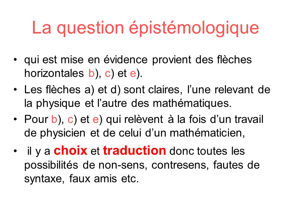 La question épistémologique