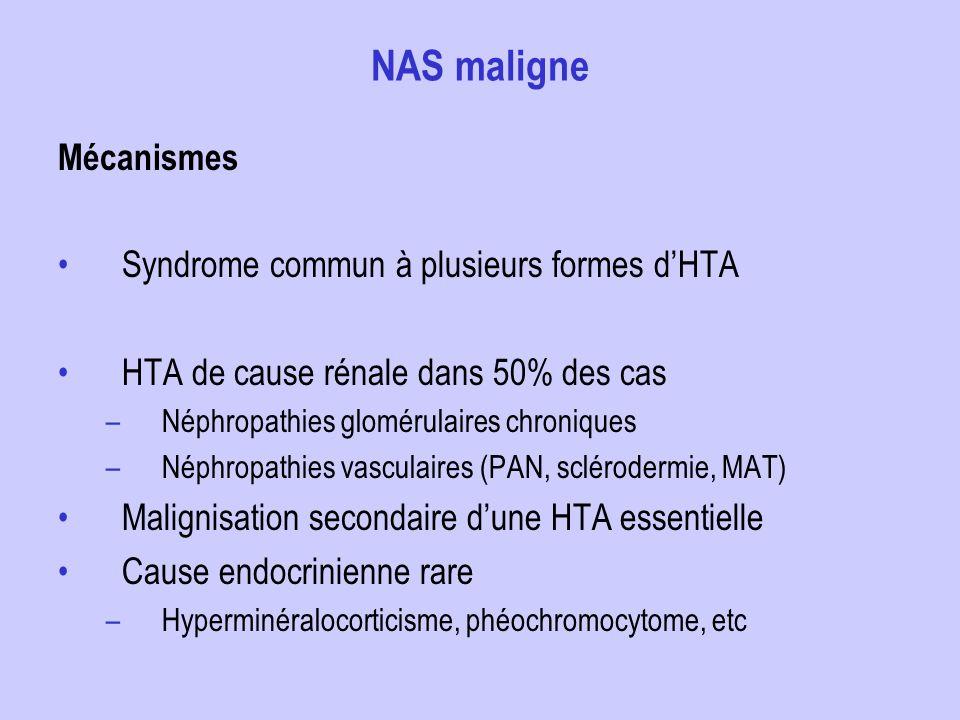 NAS maligne Mécanismes Syndrome commun à plusieurs formes d'HTA
