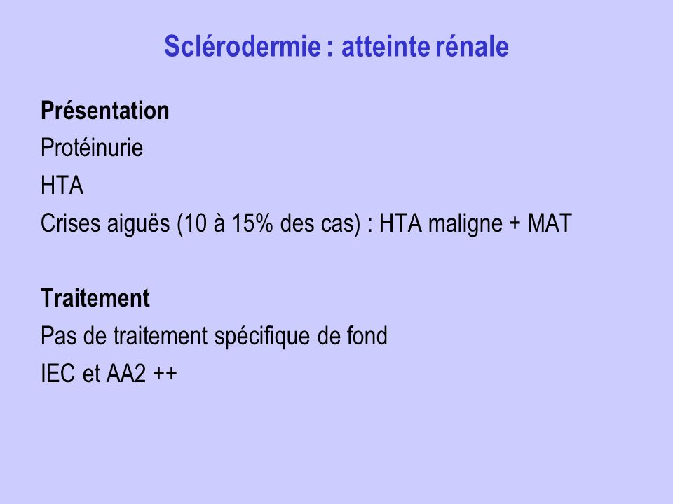 Sclérodermie : atteinte rénale