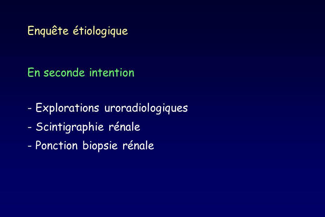 Enquête étiologique En seconde intention. - Explorations uroradiologiques. - Scintigraphie rénale.