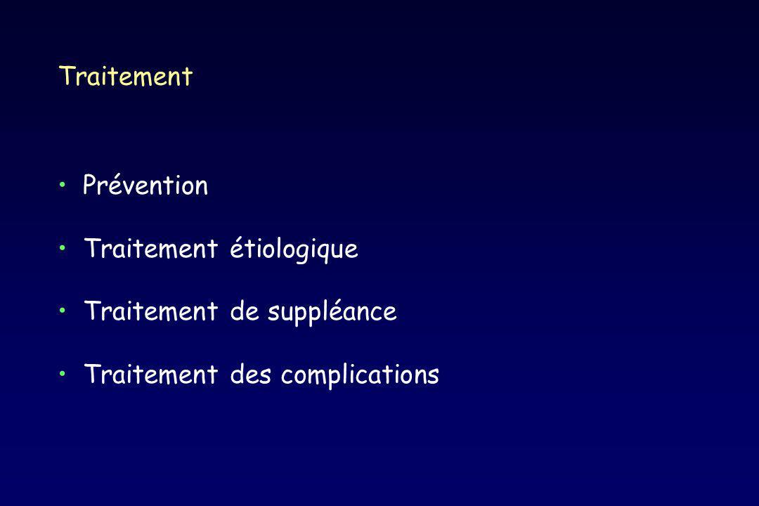Traitement Prévention Traitement étiologique Traitement de suppléance Traitement des complications