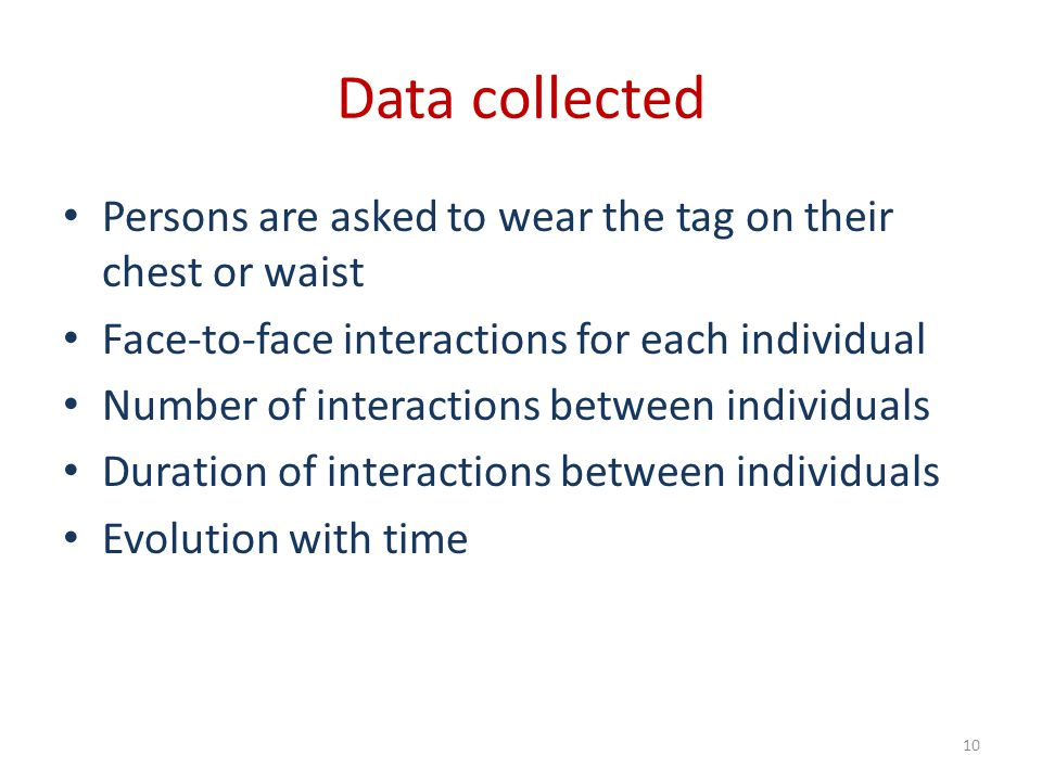 Data collected Persons are asked to wear the tag on their chest or waist. Face-to-face interactions for each individual.