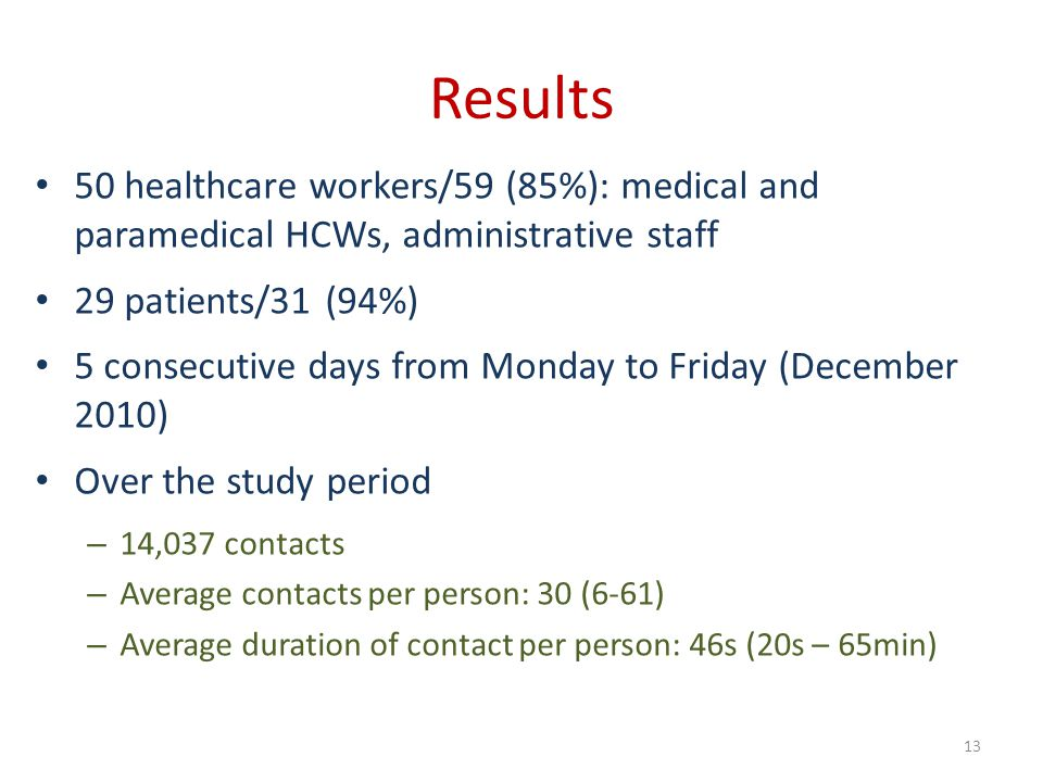 Results 50 healthcare workers/59 (85%): medical and paramedical HCWs, administrative staff. 29 patients/31 (94%)
