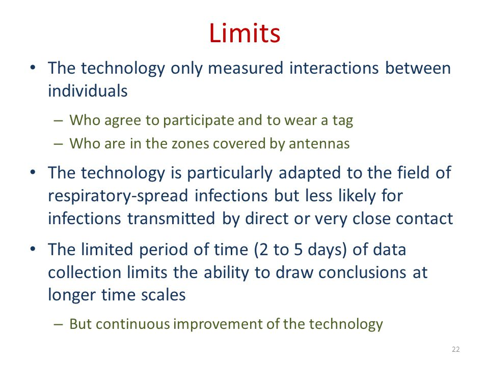 Limits The technology only measured interactions between individuals