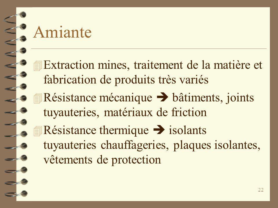 Amiante Extraction mines, traitement de la matière et fabrication de produits très variés.