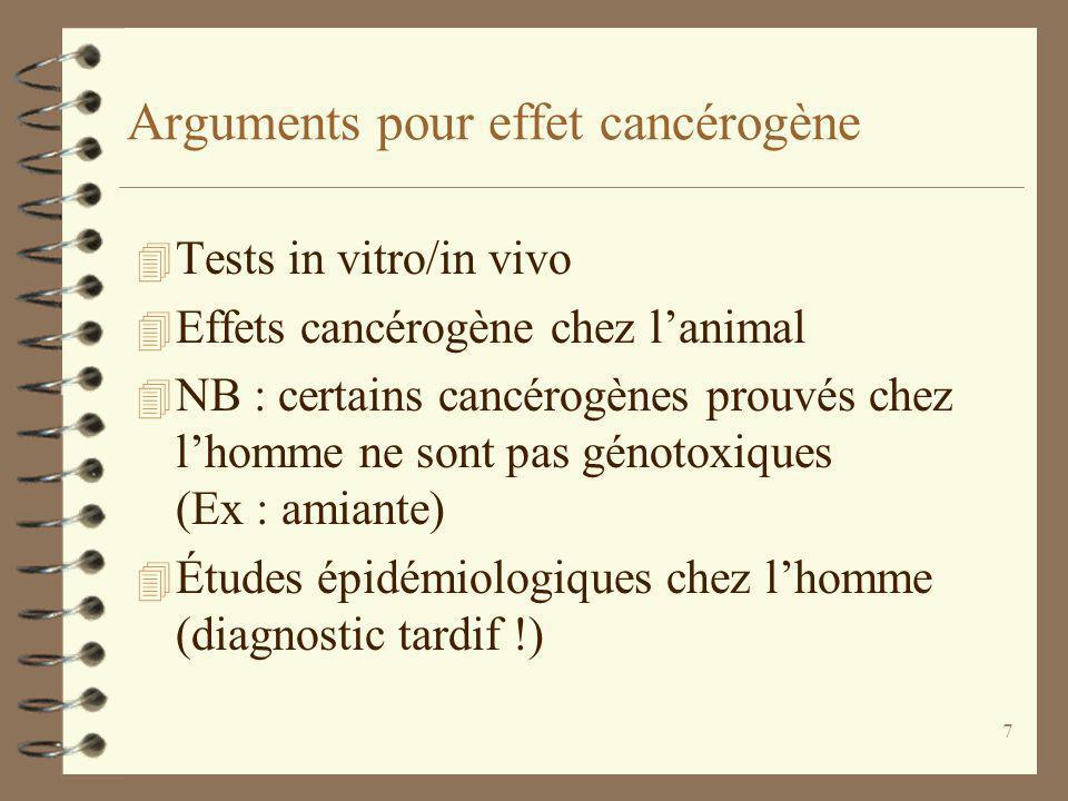Arguments pour effet cancérogène