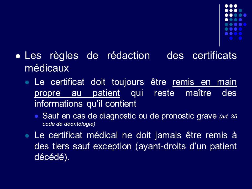 Les règles de rédaction des certificats médicaux