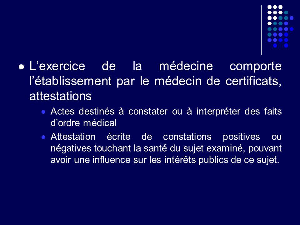 L'exercice de la médecine comporte l'établissement par le médecin de certificats, attestations