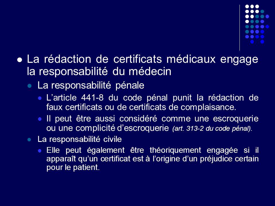 La rédaction de certificats médicaux engage la responsabilité du médecin