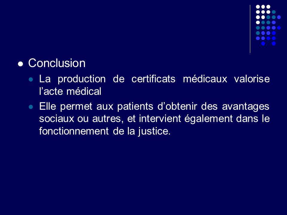 Conclusion La production de certificats médicaux valorise l'acte médical.