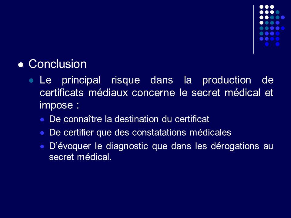 Conclusion Le principal risque dans la production de certificats médiaux concerne le secret médical et impose :