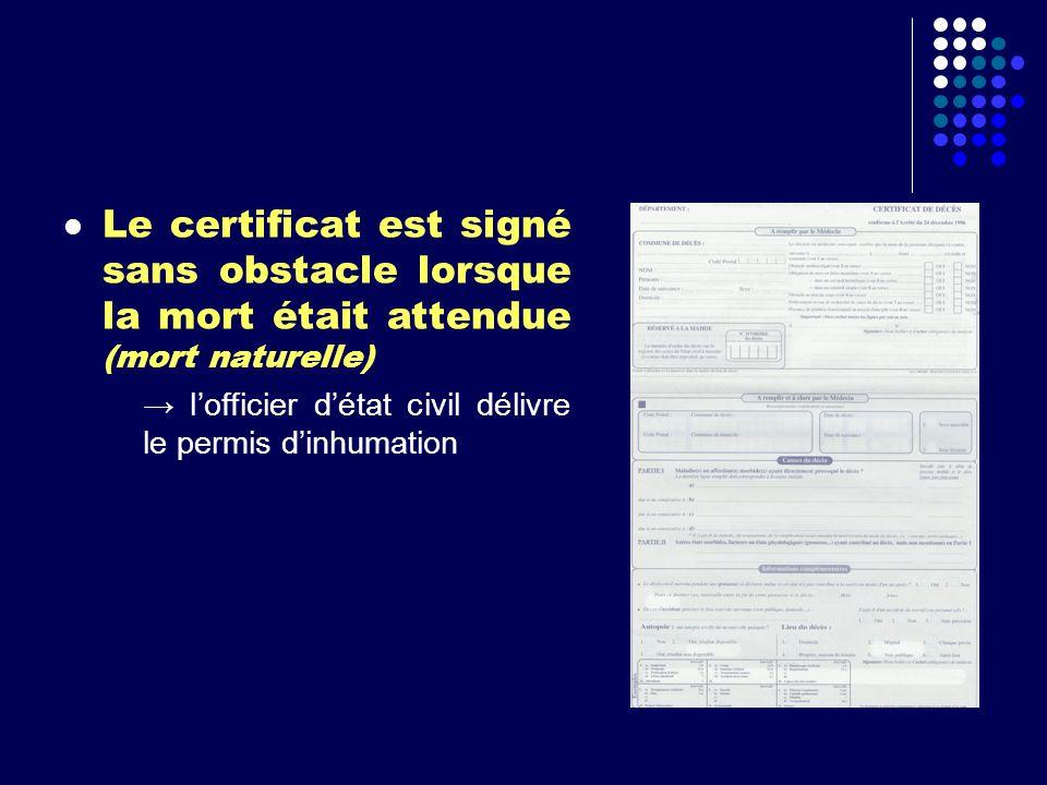 Le certificat est signé sans obstacle lorsque la mort était attendue (mort naturelle)