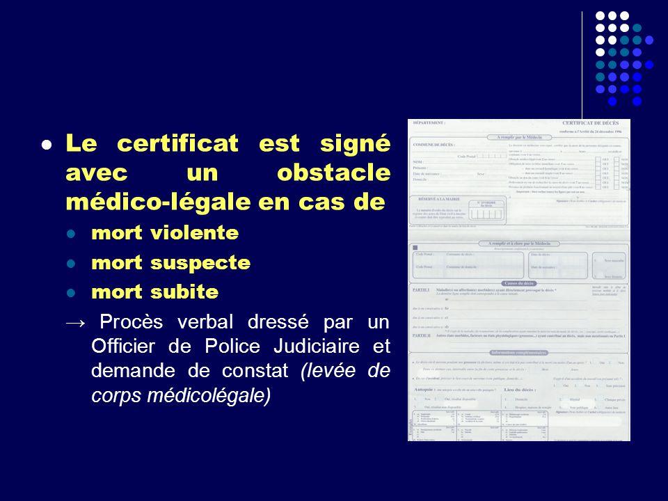 Le certificat est signé avec un obstacle médico-légale en cas de