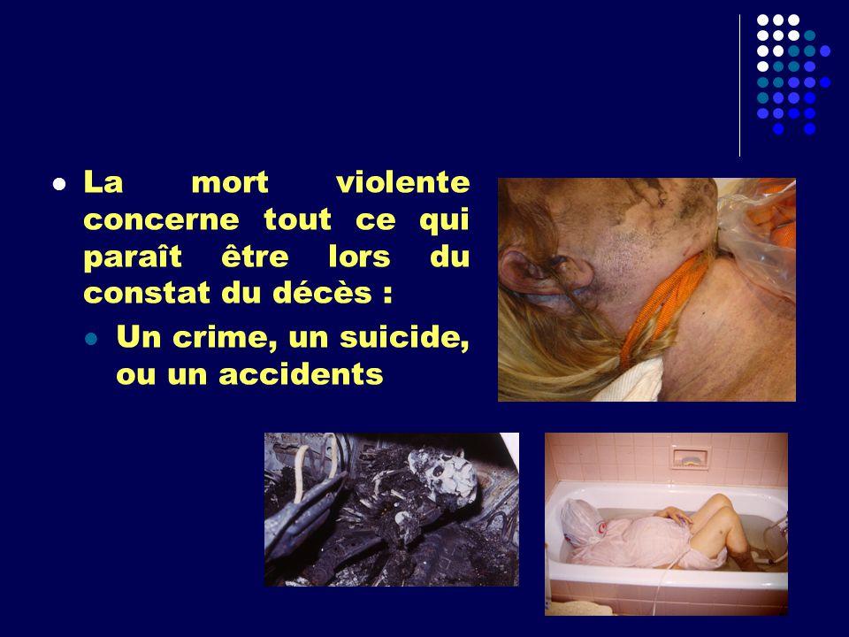 La mort violente concerne tout ce qui paraît être lors du constat du décès :