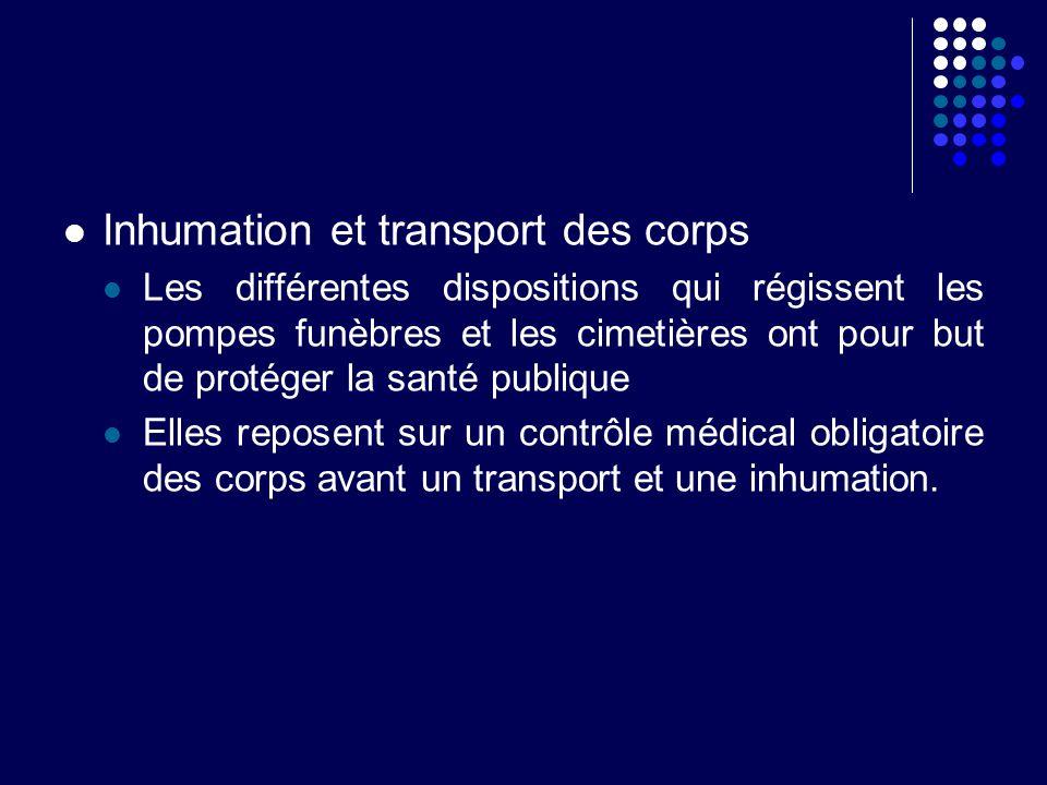 Inhumation et transport des corps