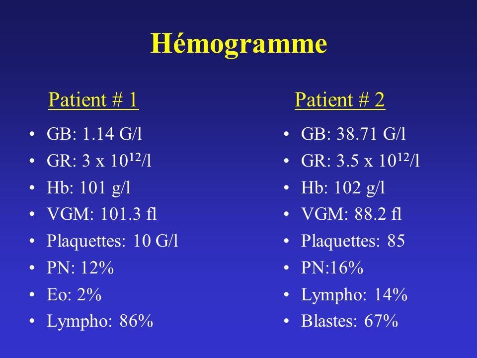Hémogramme Patient # 1 Patient # 2 GB: 1.14 G/l GR: 3 x 1012/l